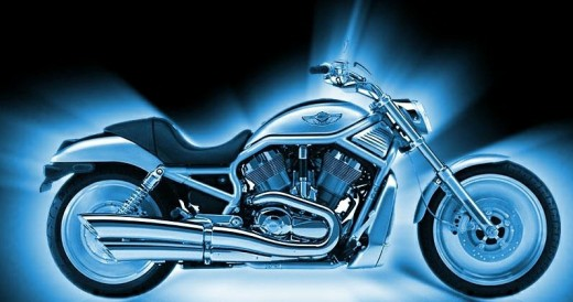 Blue Harley Davidson Bike-I get a a chill up my leg!