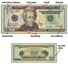 Changes to the $20 bill issued in 2004