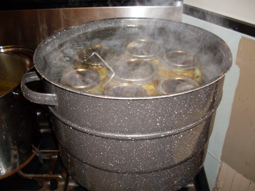 Water should cover jars by about one inch. Put on lid, wait for water to return to a full boil, and process pickles 5 minutes.