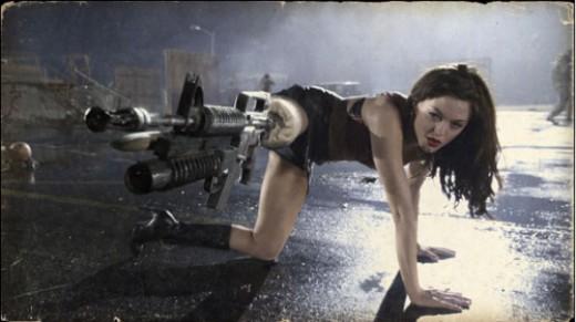 McGowan blasting away with her machine-gun leg...