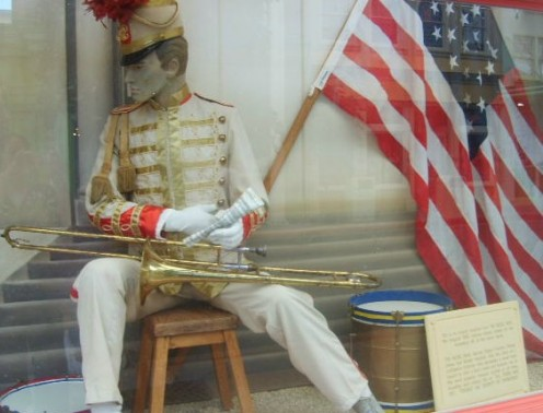 The original costume of the Music Man including the trombone used in the cinema classic based on the hit musical of the same name in 1962.