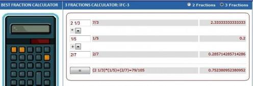 Free Online 3 Fractions Calculator: www.webinfocentral.com/Math/Fractions.aspx