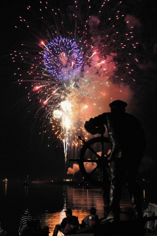 Spirit of Ludington statue stays on course during fireworks.