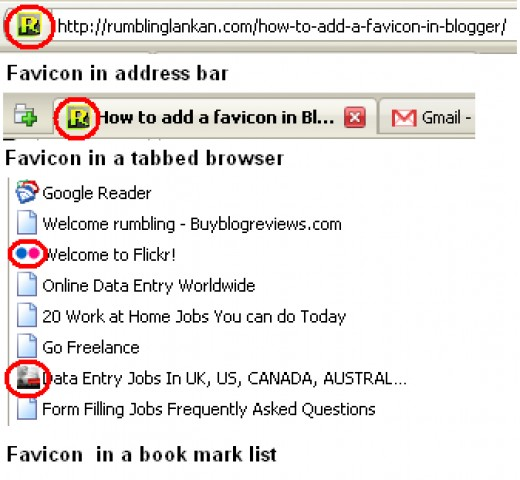 Favicon in tab , favorites and book marks
