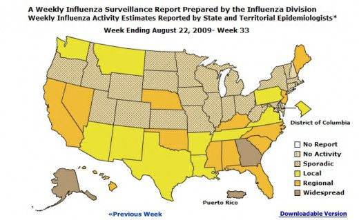 CDC US H1N1 Map