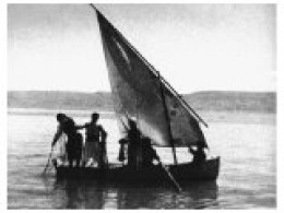 A early photo taken at daybreak on the Sea of Galilee
