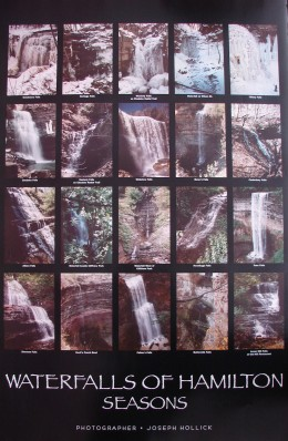 Poster showing 20 of Hamilton's waterfalls with one row for each of the four seasons.