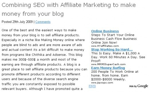 Adsense block inside the post