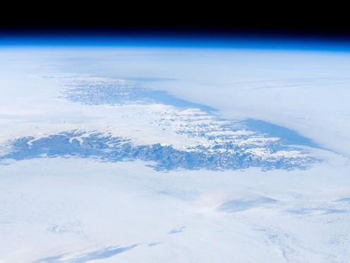 A view of Greenland from outer space. Astronaut photograph ISS017-E-12583 of August 4, 2008, by Expedition 17 Crew: ISS Crew Earth Observations and Image Science & Analysis Lab, Johnson Space Center.