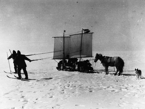 A sail boat was used on the windy polar icescape. Archive of Alfred Wegener Institute, public domain.