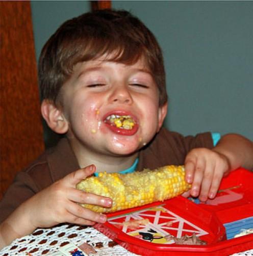 Corn can be messy fun