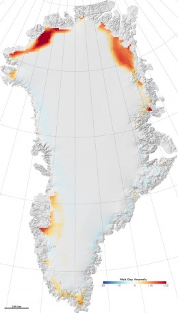 Melting in the Greenland Ice Cap in 2008.