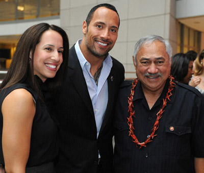 Dwayne Johnson with former wife and Congressman Eni Faleomavaega (public domain).