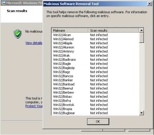 Malicious Software Removal Tool found no infections on my PC