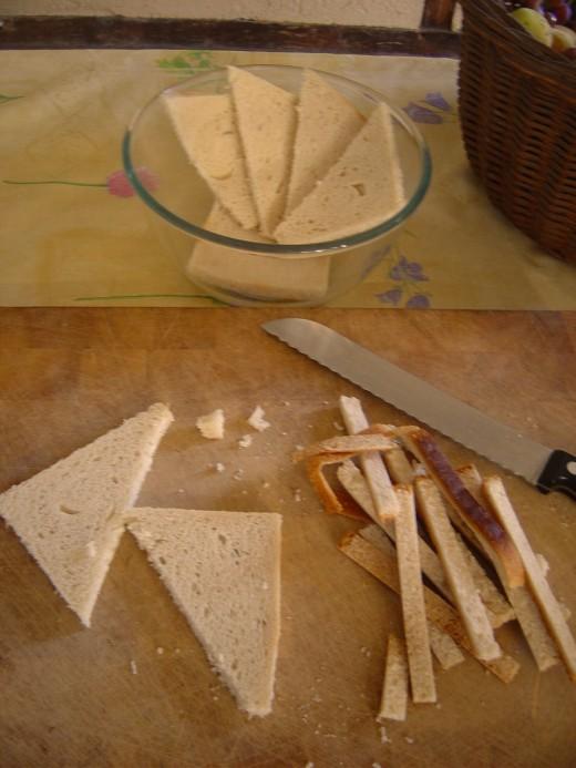 I cut mine into triangles