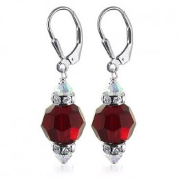 Garnet dangle earrings with Swarovksi crystals