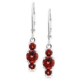 Garnet 3 stone drop earrings