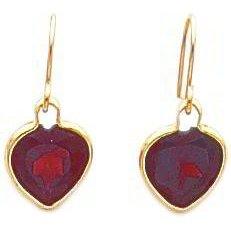 Heart shaped garnet earrings