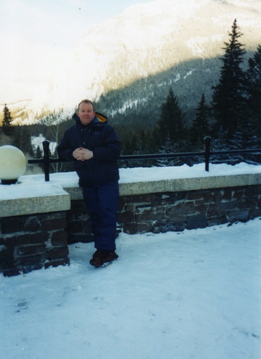On the balcony at Banff Springs Hotel