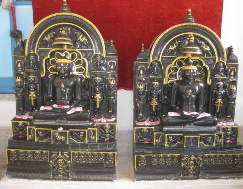 Parswanath and Vasupujya Swami Idols in Kasauti (Gold Taster) stone at Kiratbagh, Jiaganj. These idols are similar to Jain  idols kept  in London Museum.