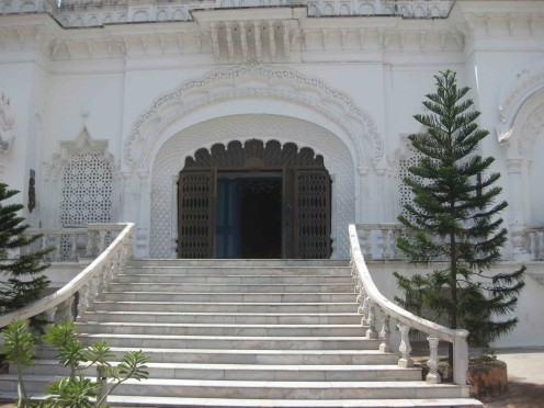 Sambhavanath Temple front view. Stair cases and main gate of the temple