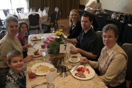 family taking advantage of a Mother's Day brunch.