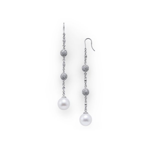 South sea pearl dangle earrings with diamonds