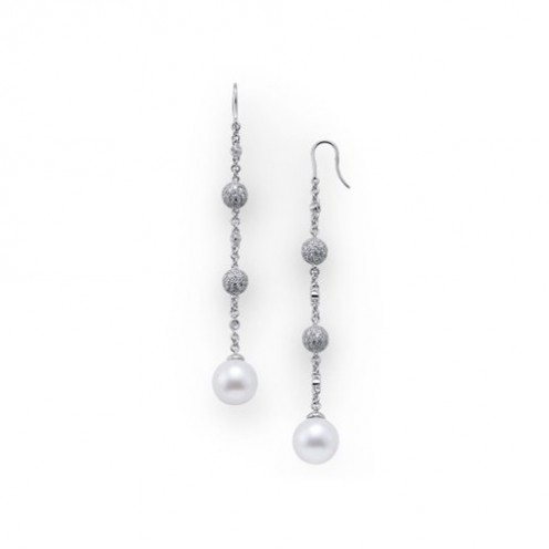 South sea pearl dangle earrings with diamonds