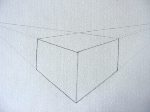 2 point perspective of a cube