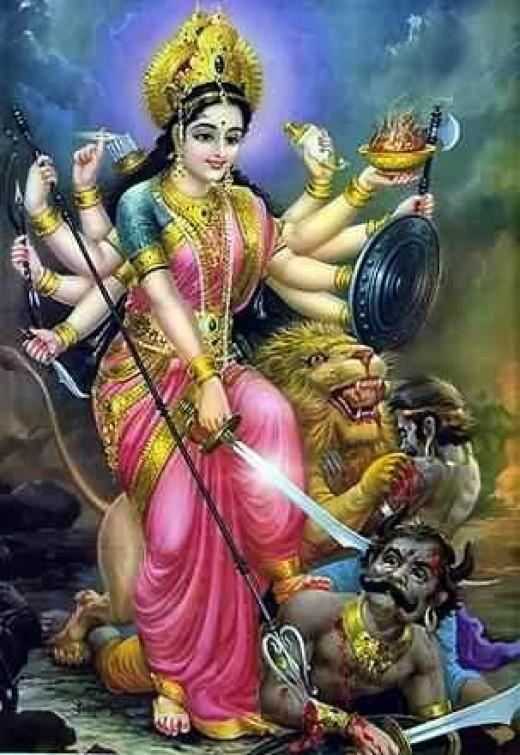 The goddess Durga, the destroyer of demons.