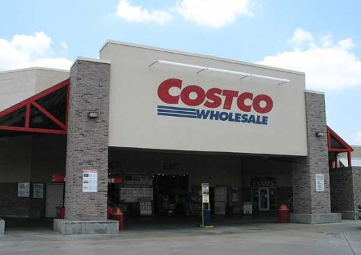 The entrance to a Typical Costco Wholesale Warehouse Club