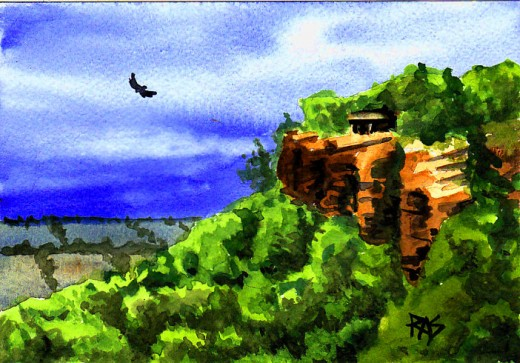 Miss Barbara's Lookout, watercolor by Robert A. Sloan