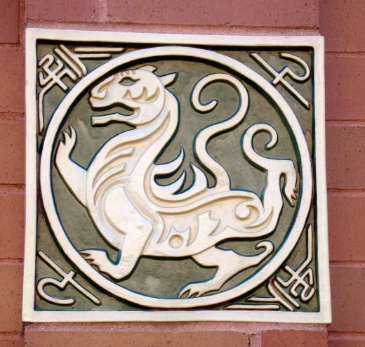 Decorative tile on the wall