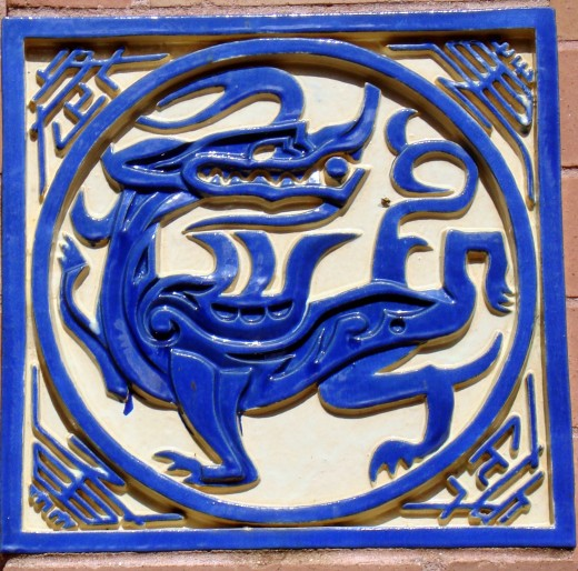 Decorative Dragon tile on the wall