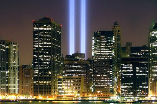 The lights to the sky replace the Twin Towers for now and rebuilding around Ground Zero continues.