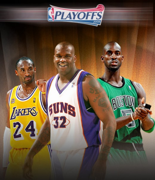 Play-offs. From your left is Kobe, Shaq at the middle and Garnett at your right.