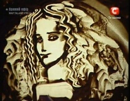 "An image drawn in sand by Kseniya Simonova on ""Ukraine's Got Talent."""
