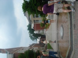 Famous Water fountain at WPI - programmed to respond to the wind so it never drenches passersby!