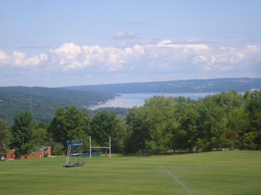 View from Ithaca College of the lake