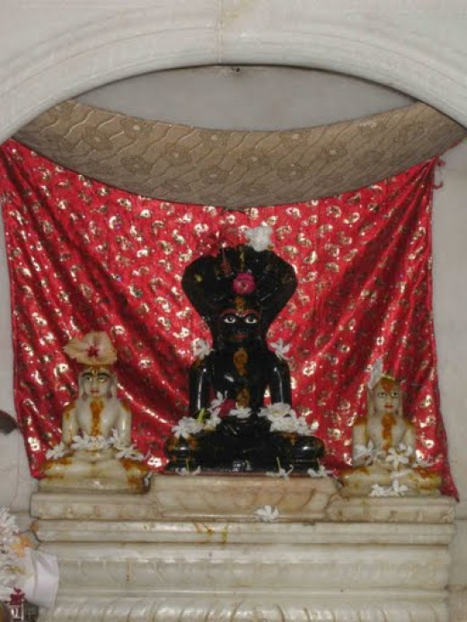 Arhant  deities in inner sanctum of a Jain temple