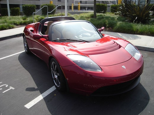 Tesla Roadster front three quarter view