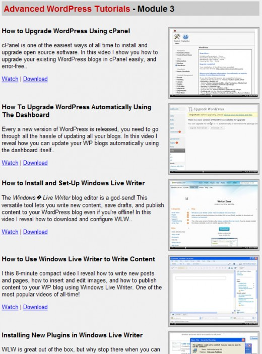 Wordpress Wizard 2.0 Members area , Advanced Wordpress Section