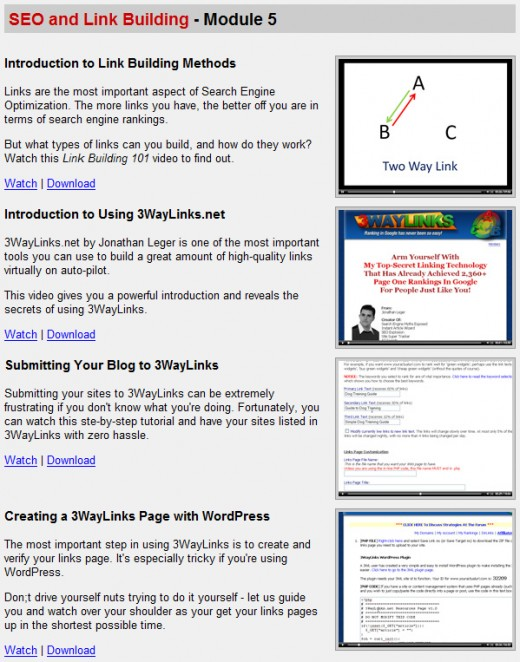 Wordpress Wizard 2.0 Members area , SEO and link building section