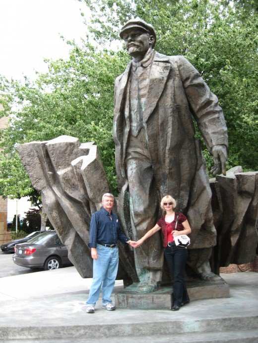 My wife and I posing in front of the statue - just so the folks back home will see that we were there.