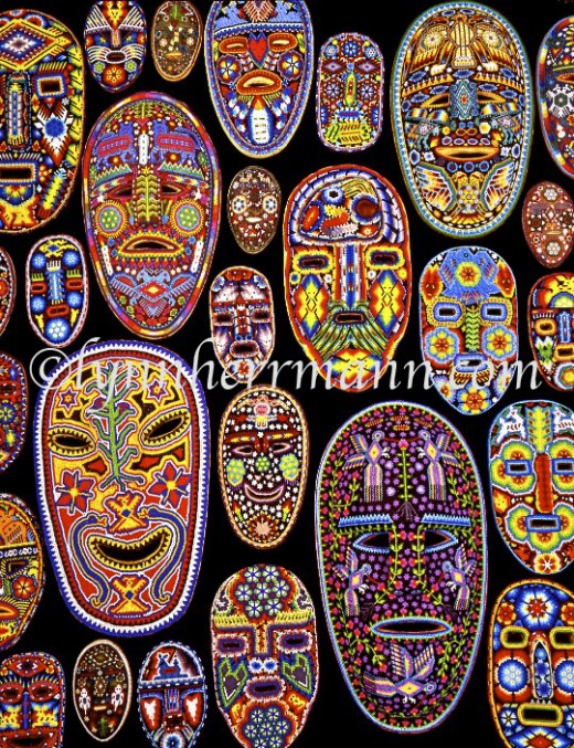 The Huichol Indians of central and western Mexico live a spiritual existence, making a living off their bead art and yarn paintings.