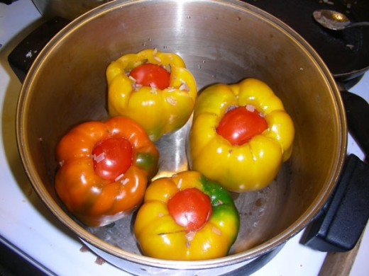 Place the peppers in a deep pot