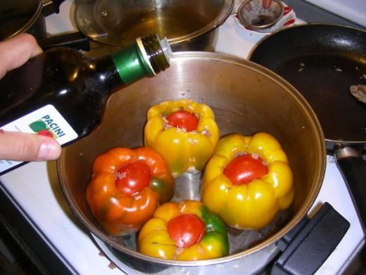Pour a bit more olive oil
