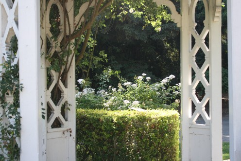 Wisteria covered arbors, pergolas and structures of many sizes and for many different functions...