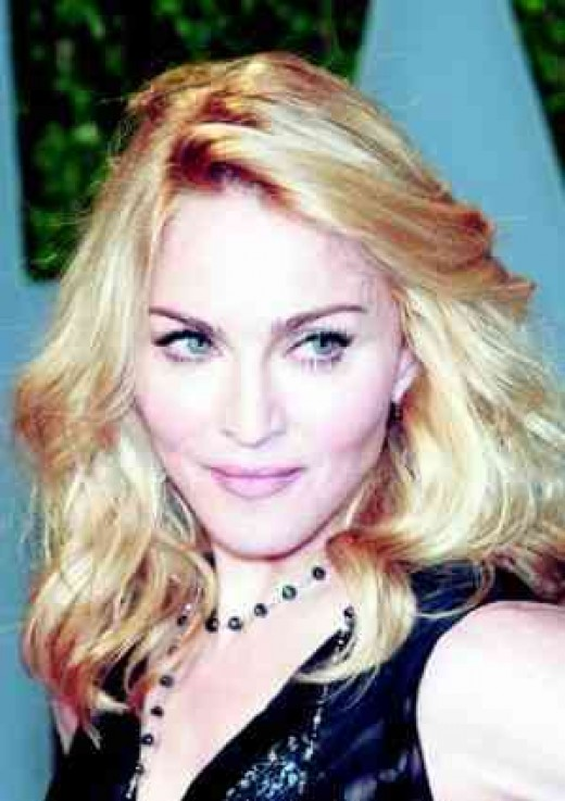 Madonna's plump cheeks.