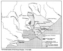 """Territorial losses of the amaXhosa People, 1779 to 1848 (From """"An Illustrated History of South Africa"""" by Trewhella Cameron"""